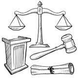 A sala do tribunal objeta o esboço Imagem de Stock