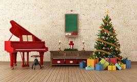 Sala dos christams do vintage com piano de cauda vermelho Fotografia de Stock