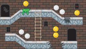 Sala editável sem emenda com a parede de tijolo para o projeto de jogo da plataforma Foto de Stock
