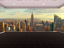 Sala em New York City, sala vazia, 3D que rende o interior, EUA Foto de Stock