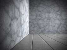 Sala escura abstrata com o assoalho do muro de cimento e de telha Imagens de Stock Royalty Free