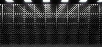 Sala escura realística com metal Mesh Grid Wall Imagens de Stock Royalty Free