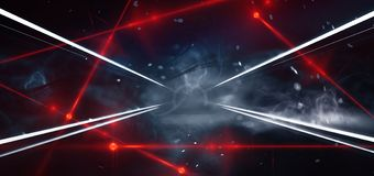 Sala escura, rua, túnel, corredor, fundo com raios do holofote e um raio laser vermelho, fumo, poluição atmosférica, obscuridade  ilustração do vetor