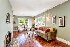 Sala espaçoso da hortelã clara com chaminé Imagem de Stock