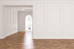 Sala interior branca clássica moderna vazia ilustração do vetor