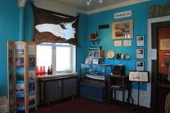 Sala interior com fotografias da construção naval e outros artigos, museu marítimo de Oswego, New York, 2016 fotografia de stock