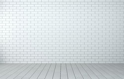 Sala interior com parede de tijolo e o assoalho de madeira Fotos de Stock Royalty Free