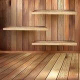 Sala interior de madeira velha com shelfs. EPS 10 Foto de Stock Royalty Free