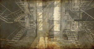 Sala. Interior industrial moderno, escadas, espaço limpo no industr Foto de Stock Royalty Free