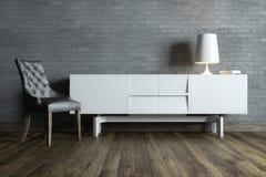 Sala interior moderna com mobília e o candeeiro de mesa brancos