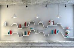 Sala interior moderna com uma mobília bonita Estante minimalista sobre o fundo concreto e de madeira dramático, ilustração stock