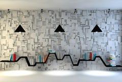 Sala interior moderna com uma mobília bonita Estante minimalista sobre o fundo concreto e de madeira dramático, ilustração do vetor