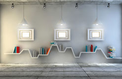 Sala interior moderna com uma mobília bonita Estante minimalista sobre o fundo concreto e de madeira dramático, ilustração royalty free