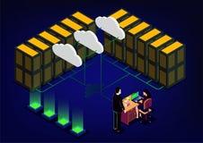 Sala isométrica do servidor de rede ilustração stock
