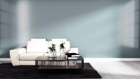 Sala japonesa interior com sofá, tabela e tapete preto no fundo lustroso da parede do assoalho de madeira duro branco rendi??o 3d ilustração stock
