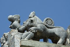 Sala killing lion with daggor; the symbol of Hoysala empire in Lakshmi Devi temple at Doddagaddavalli Royalty Free Stock Photography
