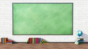 Sala lekcyjna z zielonym blackboard przeciw ściana z cegieł Obraz Royalty Free