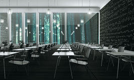 Sala lekcyjnej pojęcie z drewnianą podłoga (3d Odpłacają się) Obrazy Royalty Free