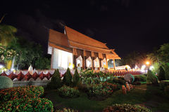 Sala Loi Temple churches at night. In Nakhon Ratchasima or Korat province, Thailand Stock Photos