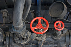 Sala macchine di treno molto vecchio del vapore Fotografie Stock Libere da Diritti