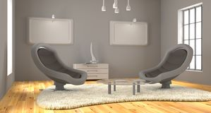 A sala minimalista 3d rende fotos de stock royalty free