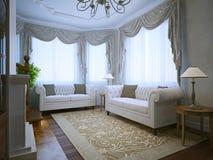 Sala moderna da sala de estar com mobília clássica Imagens de Stock Royalty Free