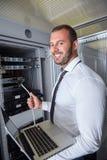 Sala moderna do servidor do datacenter Fotografia de Stock