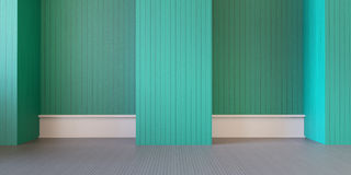 Sala moderna e parede verde na rendição de /3d do assoalho Fotos de Stock Royalty Free