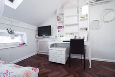 Sala moderna no apartamento do sótão Imagens de Stock