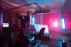 Sala com equipamento para um filme Imagem de Stock