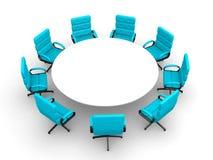 sala per conferenze rotonda 3d, isolata su bianco Fotografie Stock