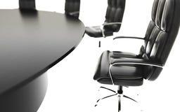 Sala posiedzeń, pokój konferencyjny, konferencyjny stół i krzesła, pojęcia prowadzenia domu posiadanie klucza złoty sięgający nie royalty ilustracja