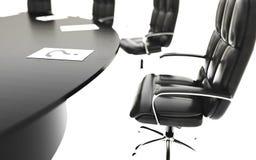 Sala posiedzeń, pokój konferencyjny, konferencyjny stół i krzesła, pojęcia prowadzenia domu posiadanie klucza złoty sięgający nie ilustracja wektor