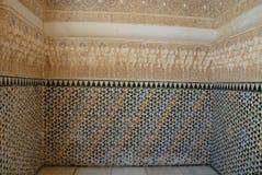 Sala preciosa dentro do Alhambra em Granada na Espanha Fotos de Stock Royalty Free