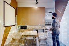 Sala riunioni bianca e beige dell'ufficio tonificata Fotografia Stock