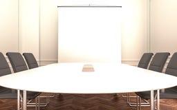 Sala riunioni con lo schermo vuoto del proiettore illustrazione di stock
