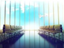 Sala riunioni dell'aeroporto con la vista panoramica Fotografia Stock