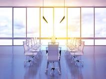 Sala riunioni dell'ufficio con la vista panoramica Immagini Stock