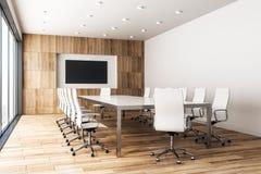 Sala riunioni di legno contemporanea con il manifesto royalty illustrazione gratis