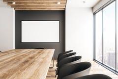 Sala riunioni di legno contemporanea con l'insegna illustrazione di stock