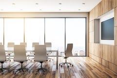 Sala riunioni di legno contemporanea con la TV illustrazione vettoriale