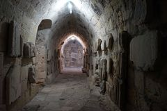 Sala subterrânea no castelo Fotos de Stock