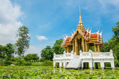 Sala Thai. A beautiful Thai style building called Sala in a lotus pond royalty free stock image