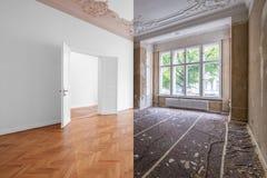 Sala vazia, apartamento luxuoso/plano na construção velha com assoalho de madeira e estuque fotos de stock