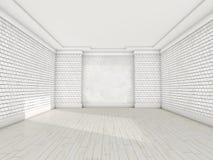 Sala vazia branca com parquet 3d Foto de Stock Royalty Free