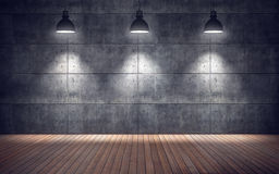Sala vazia com lâmpadas assoalho de madeira e parede das telhas concretas Imagens de Stock Royalty Free