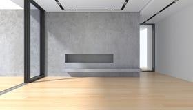 Sala vazia com o assoalho de parquet do muro de cimento e a janela panorâmico Fotografia de Stock Royalty Free