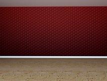 Sala vazia com parede vermelha Fotografia de Stock Royalty Free