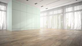 Sala vazia com rendição azul do armário 3D Fotos de Stock