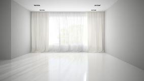 Sala vazia com rendição cinzenta da parede 3D Imagem de Stock Royalty Free